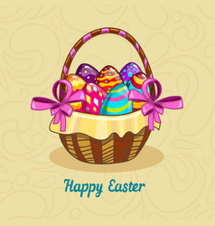 card with easter eggs in a basket vector image