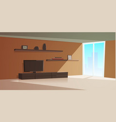 cartoon interior modern living room vector image vector image