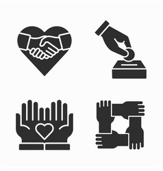 Charity and volunteer icons set vector