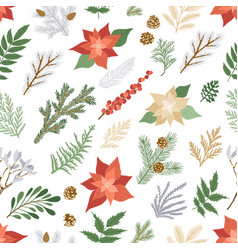 christmas seamless pattern with plants and flowers vector image
