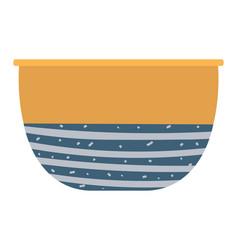 clay bowl ceramic dishware pattern blue color vector image