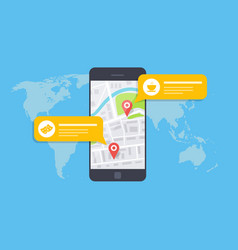concept of a mobile map or navigator pop-up vector image