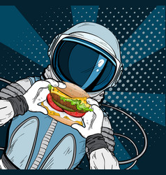 Cosmonaut on blue background eating cheeseburger vector