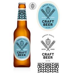 craft beer label neck label on brown bottle 330ml vector image
