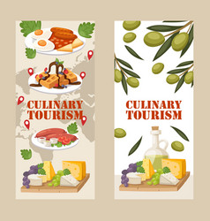 Culinary tourism vertical banners vector