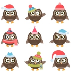 Cute owls with Santa hats vector