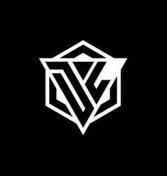 Dl logo monogram with triangle and hexagon shape vector