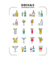 Drinks color icons set alcohol menu card vector