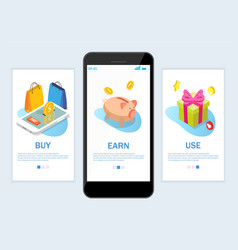earn rewards website and mobile app onboarding vector image