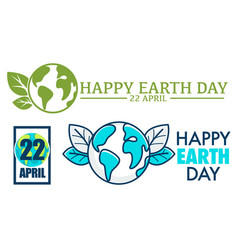 earth day international holiday logo with leaves vector image