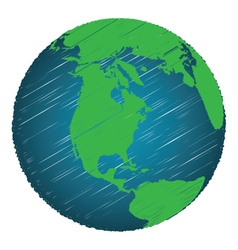 Earth Sketch Hand Draw Focus North America vector