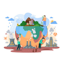 Earth suffer from society and it s way life vector
