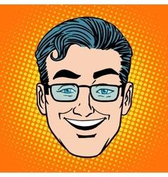 Emoji smile laughter man face icon symbol vector image