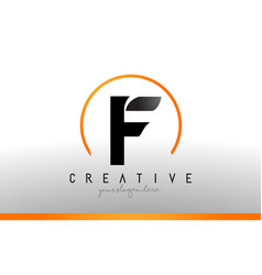 F letter logo design with black orange color cool vector