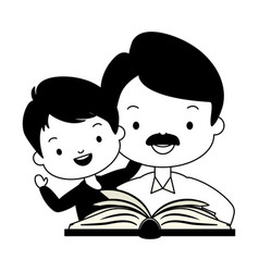 Father son with book vector