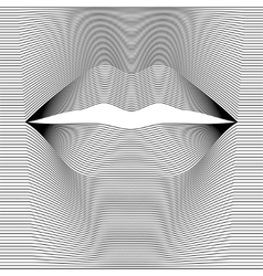 female lips of black lines vector image
