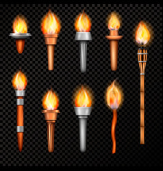 Fire torch realistic set vector