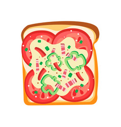 Flat icon of delicious sandwich toast vector