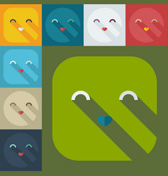 Flat modern design with shadow icons smiley cute vector