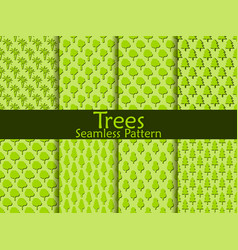 Flat trees seamless pattern set vector