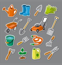 Garden tools stickers vector