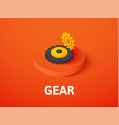gear isometric icon isolated on color background vector image