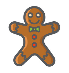Gingerbread man filled outline icon new year vector