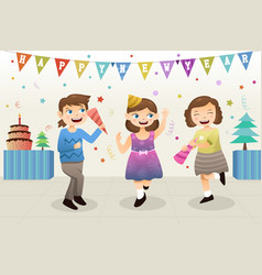 girls celebrating new year party vector image
