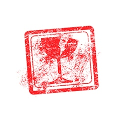 glass icon red grunge rubber stamp vector image