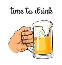 glass mug of beer with foam vector image