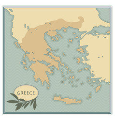 Greece map with olives branches and olive leaves vector