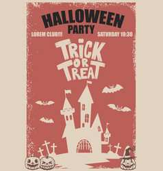 Halloween party poster template scary castletrick vector
