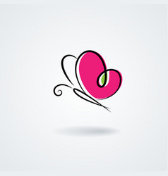 Handdrawn butterfly with a heart shape wings vector