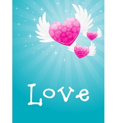 heart flying with wings vector image