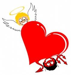 Heart with angel and devil vector