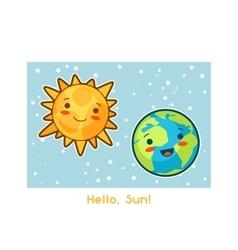 hello sun kawaii space funny card doodles vector image