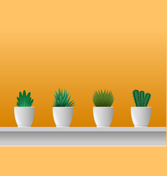 Houseplants in potted the yellow wall vector