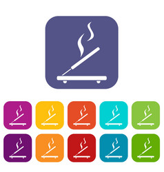 Incense sticks icons set vector