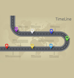 Infographic world map road timeline layout vector