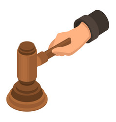 judge hammer hand icon isometric style vector image