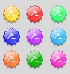 Judge hammer icon Symbols on nine wavy colourful vector
