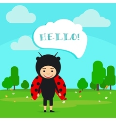 Kid in fancy ladybug dress vector