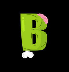 Letter b zombie font monster alphabet bones and vector