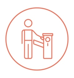 Man at car barrier line icon vector image