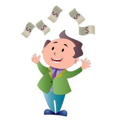 man showering in dollar bills vector image