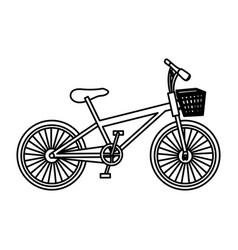 Monochrome contour of bike with basket in white vector