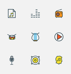 Music icons colored line set with drum start vector