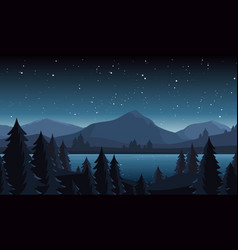 night lake landscape flat vector image