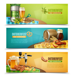 Oktoberfest beer 3 horizontal banners set vector