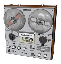 old radio recorder on white background vector image